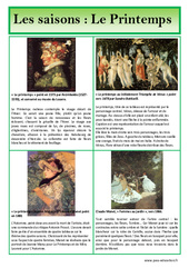 Printemps – Les saisons – Lecture d'une oeuvre artistique – Histoire de l'art : Primaire – Cycle Fondamental