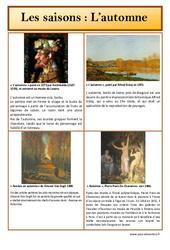 Automne – Les saisons – Lecture d'une oeuvre artistique – Histoire de l'art : Primaire – Cycle Fondamental