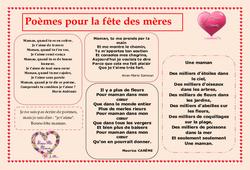 Fête des mères – Poèmes – Vie de la classe : Primaire – Cycle Fondamental