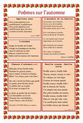Automne – Poèmes – Lecture poésie : 2eme, 3eme, 4eme, 5eme Primaire