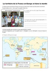 Le territoire français en Europe et dans le monde – Exercices- Fiches Documents, questions et correction : 4eme, 5eme Primaire