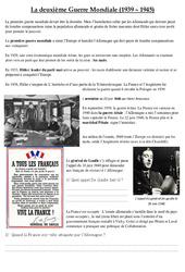 La deuxième Guerre Mondiale (1939 – 1945) – Texte documentaire : 5eme Primaire