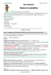 Dates – Calendrier – Fiche de préparation : 1ere Primaire