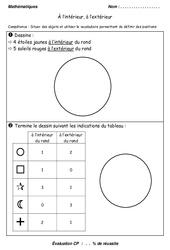 Intérieur et extérieur – Examen Evaluation – Espace – Mathématiques : 1ere Primaire