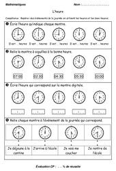 Heures – Demi – heures – Examen Evaluation : 1ere Primaire