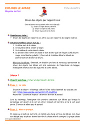 Situer des objets par rapport à soi – Fiche de prep : 2eme Maternelle – Cycle Fondamental