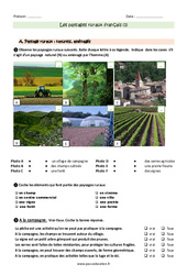 Paysages ruraux français – Exercices à imprimer : 3eme Primaire