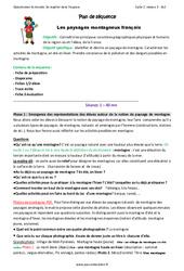 Paysages montagneux français – Fiche de préparation : 3eme Primaire