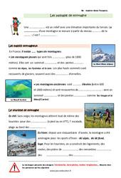 Paysages montagneux français – Cours, Leçon : 3eme Primaire