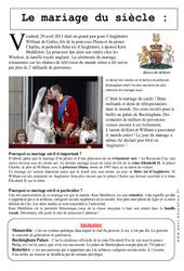 Le mariage du siècle – Kate et William – Documentaire – Lecture : 3eme Primaire