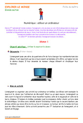 Utiliser un ordinateur – Fiche de prep : 3eme Maternelle – Cycle Fondamental