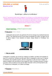Utiliser un ordinateur – Séances : 2eme Maternelle – Cycle Fondamental
