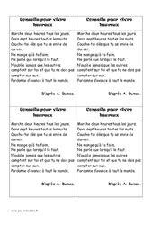 Conseils pour vivre heureux – Textes prescriptifs – Fonctionnels – Lecture : 4eme, 5eme Primaire