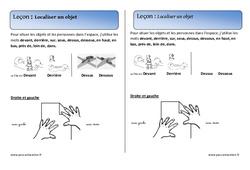 Localiser un objet – Cours, Leçon – Espace : 1ere Primaire