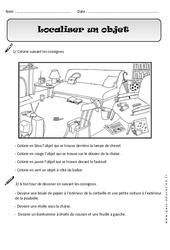 Localiser un objet – Exercices – Espace : 1ere Primaire