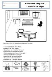 Localiser un objet – Examen Evaluation – Espace : 1ere Primaire