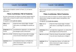 Saisons – Trace écrite – Espace – Cours, Leçon : 1ere Primaire