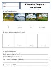 Saisons – Examen Evaluation – Espace : 1ere Primaire
