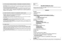 Règlement Intérieur – Directeurs / Direction d'école : Primaire – Cycle Fondamental