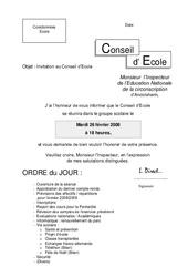 Invitation de l'IEN au Conseil d'École – Directeurs / Direction d'école : Primaire – Cycle Fondamental