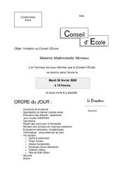 Invitation au Conseil d'École – Directeurs / Direction d'école : Primaire – Cycle Fondamental