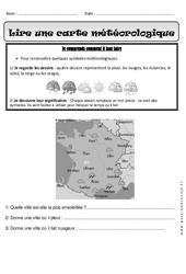 Lire une carte météorologique – Exercices : 1ere Primaire