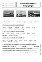 Paysages – Examen Evaluation – Espace : 1ere Primaire