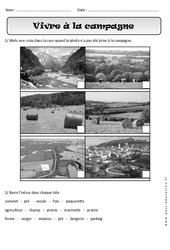 Vivre à la campagne – Exercices paysages – Espace : 1ere Primaire