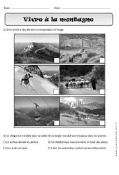Vivre à la montagne – Exercices paysages – Espace : 1ere Primaire