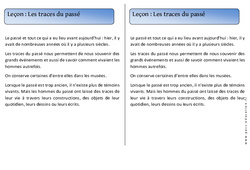 Traces du passé – Trace écrite – Temps – Cours, Leçon : 1ere Primaire