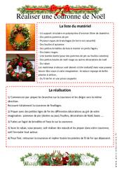 Comment réaliser une couronne de Noël – Arts Plastiques – Vie de la classe : 3eme, 4eme, 5eme Primaire