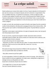 Crêpe soleil – Lecture compréhension – Récit – Chandeleur : 3eme, 4eme, 5eme Primaire
