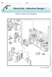 Electricité – Attention danger – Exercices – Matière – Découverte du monde : 1ere Primaire