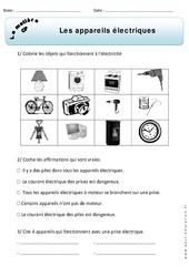 Appareils électriques – Exercices – Matière – Découverte du monde : 1ere Primaire