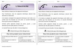 Electricité – Cours, Leçon : 1ere Primaire