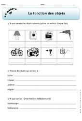 Fonction des objets – Exercices – Matière – Découverte du monde : 1ere Primaire