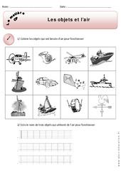 Objets – Air – Exercices – Matière – Découverte du monde : 1ere Primaire