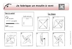 Je fabrique un moulin à vent – Exercices – Matière – Découverte du monde : 1ere Primaire