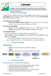 Energie – Cours : 6eme Primaire