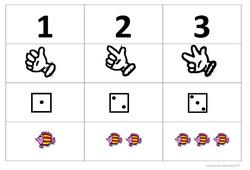 Chiffre, doigts, dés, quantités jusqu'à 3 – Affichages pour la classe : 1ere, 2eme, 3eme Maternelle – Cycle Fondamental