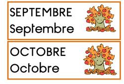 Etiquettes – Mois pour date – Affichages pour la classe : 1ere, 2eme, 3eme Maternelle, 1ere Primaire