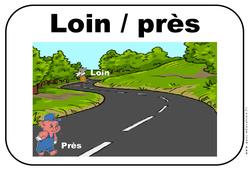 Près – Loin – Affichages pour la classe : 1ere, 2eme, 3eme Maternelle – Cycle Fondamental
