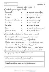 Accord sujet – verbe – Exercices avec correction : 3eme Primaire