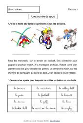 Une journée de sport – Lecture compréhension – Français : 1ere, 2eme Primaire