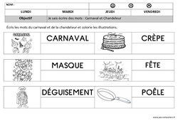 Carnaval – Chandeleur – Ecriture : 1ere, 2eme Maternelle – Cycle Fondamental