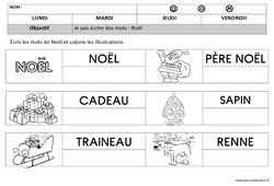 Noël – Ecriture : 1ere, 2eme Maternelle – Cycle Fondamental