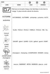 Automne – Lire les mots – Lecture : 1ere, 2eme Maternelle – Cycle Fondamental