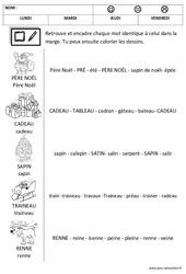 Noël – Lire les mots – Lecture : 1ere, 2eme Maternelle – Cycle Fondamental