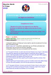 Les règles en récréation – EMC – Fiche de préparation : 1ere, 2eme Primaire