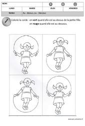 Dessus – Dessous – Espace : 1ere, 2eme Maternelle – Cycle Fondamental